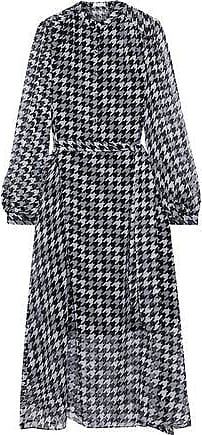 Equipment Equipment Woman Francois Belted Houndstooth Silk-georgette Midi Dress Black Size XS