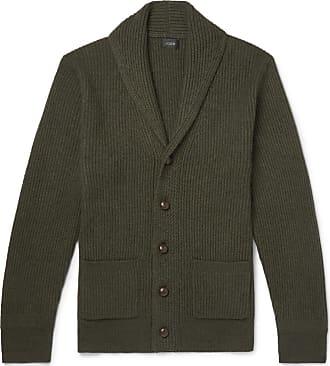 J.crew Slim-fit Shawl-collar Wool-blend Cardigan - Dark green