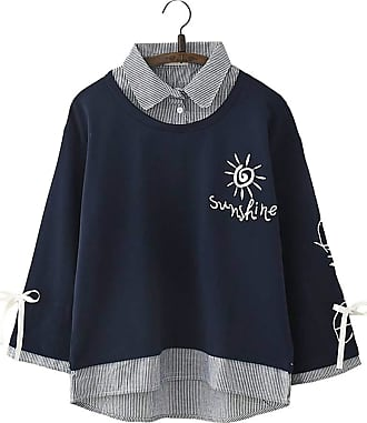 Vdual Pretty Girl Sunshine Text Print Design Unique Pattern Simple Stripes Collar Button Ribbon Long Sleeves Blouse Navy