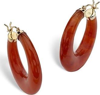 PalmBeach Jewelry Red Jade 14k Yellow Gold Hoop Earrings (30mm)