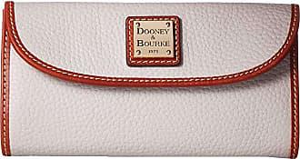 Dooney & Bourke Pebble Leather New SLGS Continental Clutch (Oyster w/ Tan Trim) Clutch Handbags