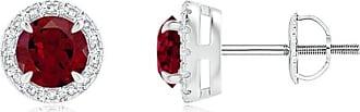 Angara Valentine Day Sale - Claw-Set Garnet and Diamond Halo Stud Earrings