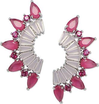 Renata Rancan Brinco Ear Cuff Spikes Pequeno com Zircônias Banho em Ródio - Rosa Claro, Rosa Pink