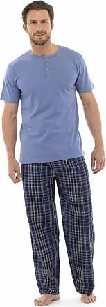Tom Franks Mens Jersey Cotton Long Check Bottoms Short Sleeve Blue Med