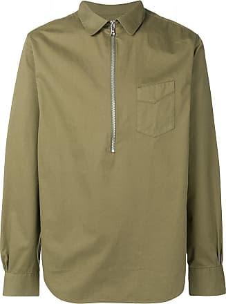 Officine Generale Camisa slim com zíper - Verde