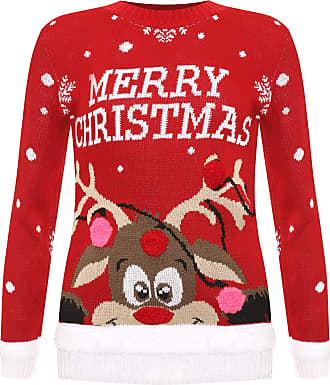 Ladies Women Knitted Reindeer Red Xmas Christmas Jumper Sweater Top size 24 26