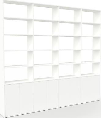 MYCS Bibliothèque - Blanc, pièce de caractère, rangements raffiné, avec porte Blanc - 301 x 272 x 35 cm, configurable