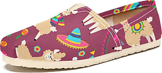 Tizorax Llama and Cactus Mens Slip on Loafers Shoes Casual Canvas Flat Boat Shoe