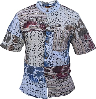 Gheri Mens Snake Print Patchwork Button Up Cotton Holiday Shirt XXX-Large