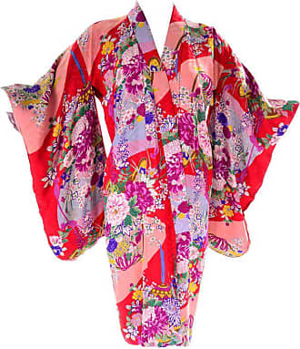 8bcc3fb640 1stdibs Red Floral Silk Multi Colored Vintage Kimono Robe From Asian  Textile Collection