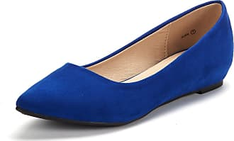 Dream Pairs Womens Jilian Slip On Pointed Toe Low Wedge Ballet Flats Pumps Shoes Royal Blue Size 7.5 US / 5.5 UK