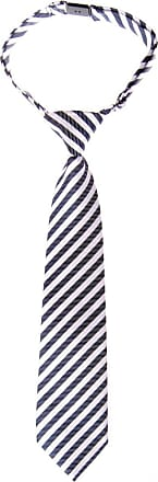 Retreez Striped Woven Pre-tied Boys Tie - Navy Blue and White Stripe - 4-7 years