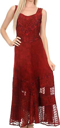 Sakkas 15225 - Zendaya Stonewashed Rayon Embroidered Floral Vine Sleeveless V-Neck Dress - red - 1X/2X