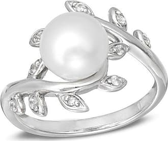 e4bd33a5fbe0ff Zales 8.0mm Baroque Cultured Freshwater Pearl and Lab-Created White  Sapphire Vine Ring in