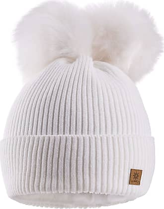 morefaz Women Ladies Winter Beanie Hat Knitted Chunky with Double Faux Fur Pom Pom (White)