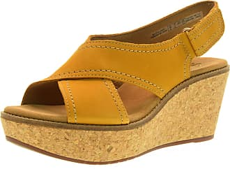 542423638b9c27 Clarks Wedge Sandals Shoes 26123147 Aisley Tulip Yellow Size 37 Yellow