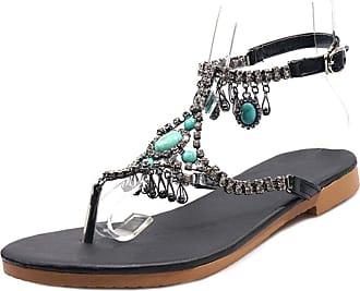 Mediffen Women Clip Toe Summer Classic Flat Studded Bohemia Sandals T Strap Ladies Comfort Casual Sandals Black Size 34 Asian