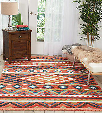 Nourison Tribal Decor TRL04 Traditional Colorful Orange Area Rug 5 Feet 3 Inches by 7 Feet 6 Inches, 53X76