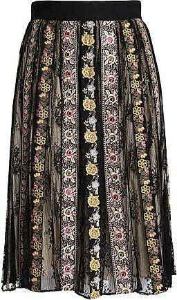 85a073e3a28a Alice & Olivia Alice + Olivia Woman Embroidered Gauze And Lace Midi Skirt  Black Size 0