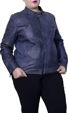 Leather Trend Italy Vale Bis - Giacca Donna in Vera Pelle colore Blu Invecchiato