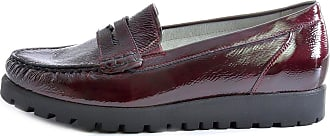 Waldläufer Womens Hegli 549002143 Patent Leather Moccasin Shoes with a Chunky Wedge Heel (Burgundy, Numeric_4_Point_5)