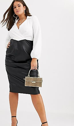 Asos Curve ASOS DESIGN Curve long sleeve shirt pu skirt midi dress-Multi