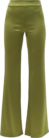 Galvan High-rise Flared Charmeuse Wide-leg Trousers - Womens - Khaki