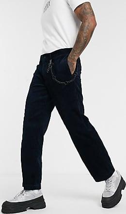 Topman wide leg cord trousers in navy