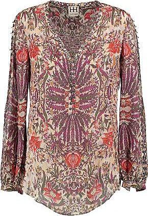 bc351eaf151e Haute Hippie Haute Hippie Woman Eyelet-embellished Printed Silk Crepe De  Chine Top Violet Size