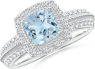 Angara Valentine Day Sale - Twisted Rope Cushion Aquamarine Halo Ring