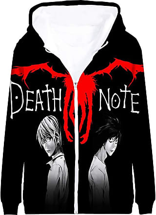 Haililais Death Note Pullover Coat Long Sleeve Printed Hooded Outerwear with Zipper Anime Casual 3D Parent-Child wear Unisex (Color : A05, Size : 140)