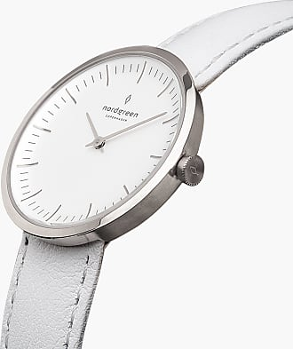 Nordgreen Infinity - Silver | White Leather - 32mm / Silver