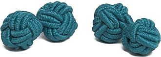 Jacob Alexander Pair of Solid Color Silk Knot Cufflinks - Teal Green