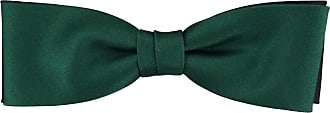 TigerTie prefabricated narrow double-colored TigerTie Satin bow tie in fir-green black all-one-color + Box