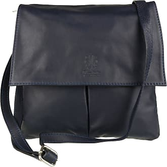 Girly HandBags Girly HandBags Double Pocket Italian Leather Messenger Bag - Navy(Size: W 25, H 25, D 2 cm (W10, H 10, D 1 inches))