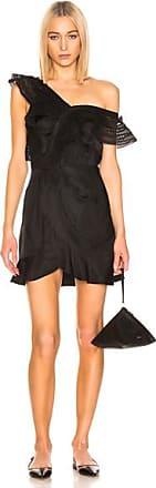 Self Portrait One Shoulder Frilled Dress in Black