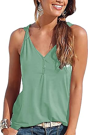 Yoins Women Summer Sexy Sleeveless Button Down Vest V Neck Blouse Casual Slimming Cami Tank Tops 1~Light Green Medium