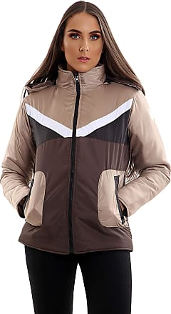 Parsa Fashions Womens Contrast Fancy Quilted Padded Puffer Warm Thick Zipper Jacket Ladies Winter Coat (XL, Beige - Brown)