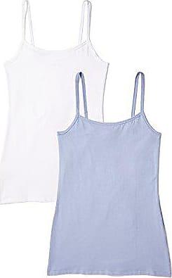 Pack of 2 1 x Blue Denim Iris /& Lilly Womens Tan Top Cotton Basic 1 x Bright Blue Medium