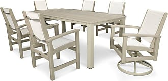 POLYWOOD Outdoor POLYWOOD Coastal 7 Piece Harvest Swivel Dining Set - Seats 6, Patio Furniture - PWS267-1-13WH902