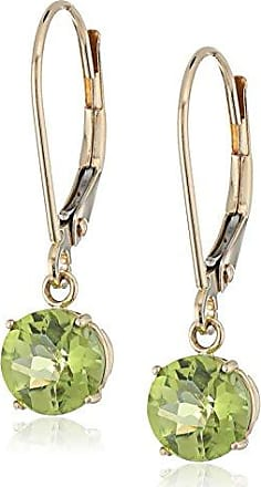 Amazon Collection 10k Yellow Gold Round Checkerboard Cut Peridot Leverback Earrings (6mm)