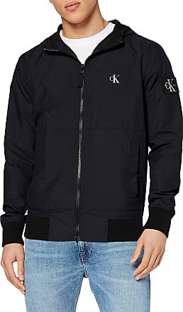 Calvin Klein Jeans Mens Hooded Blocking Nylon Jacket Bomber, Black (Ck Black/White Bae), Large (Size:L)