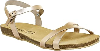 Office Safari Cross Strap Footbed Sandal Rose Gold Leather - 3 UK