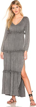 Chaser Long Sleeve V Neck Ruffle Tier Maxi in Gray