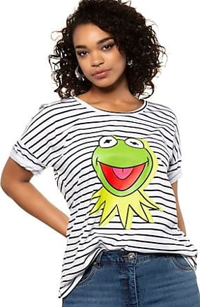 6b9f4bbd STUDIO UNTOLD Ulla Popken T-shirt, Kermit, oversized, striped, short sleeve