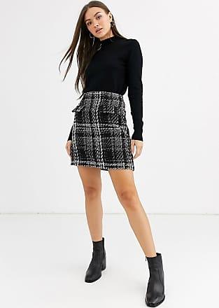 Warehouse mini skirt in tweed check-Black