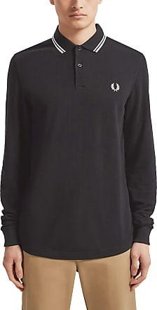 Fred Perry Mens FP LS Twin Tipped Shirt Themal Top, Black, XXL