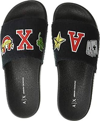 A|X Armani Exchange Womens Rubber Pool Slide Sandal, Black, 41 M EU (10.5 US)