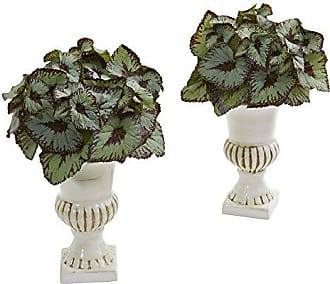 Nearly Natural 8143-S2 Rex Begonia Artificial White Urn (Set of 2) Silk Plants Green
