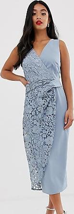 Little Mistress Petite wrap pencil midi dress with lace detail-Blue